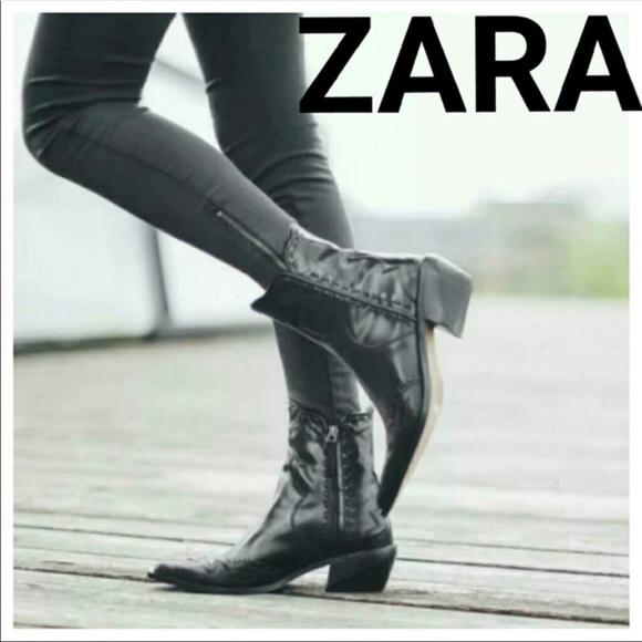 Zara Shoes | Zara Leather Cowboy Ankle